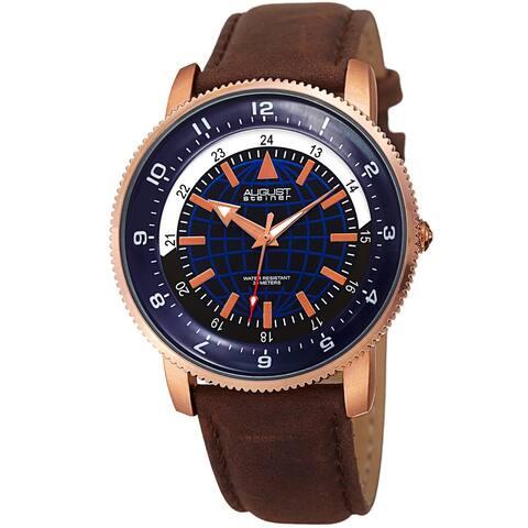 August Steiner Men's Quartz Easy-to-Read Leather Rose-Tone Strap Watch