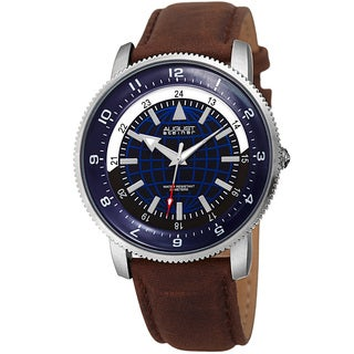 August Steiner Men's Quartz Easy-to-Read Leather Silver-Tone Strap Watch