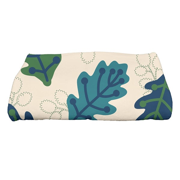 28 x 58-inch Retro Leaves Floral Print Bath Towel