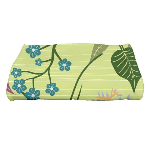 30 x 60-inch Botanical Floral Print Bath Towel