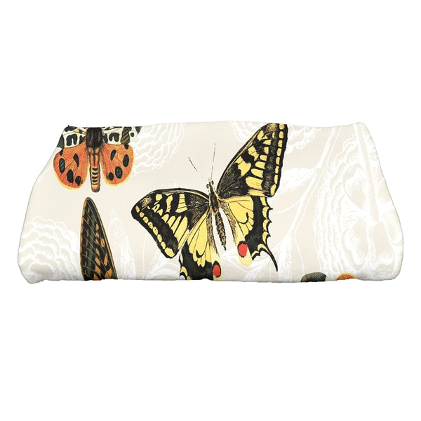 28 x 58-inch Antique Butterflies and Flowers Animal Print Bath Towel