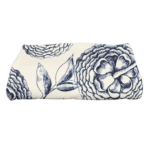 30 x 60-inch Antique Flowers Floral Print Bath Towel