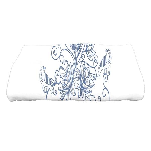 30 x 60-inch Five Little Birds Floral Print Bath Towel