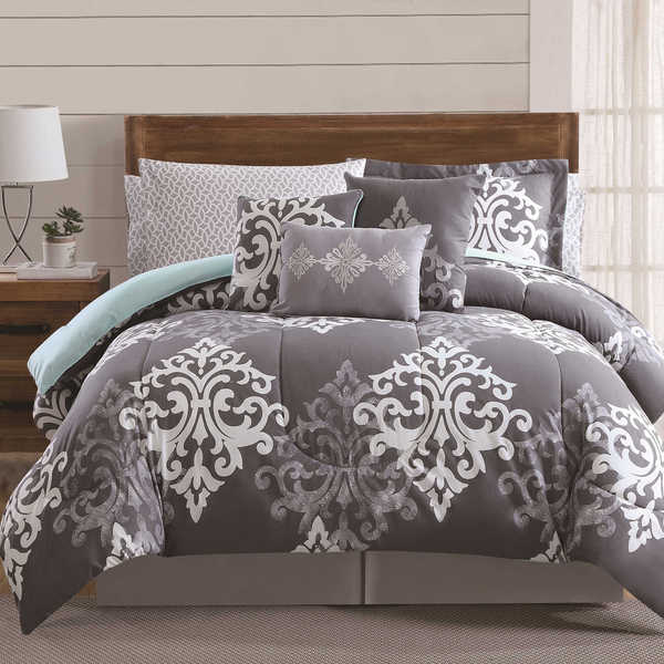 Shop Textured Damask 12 Piece Bed In A Bag With Sheet Set