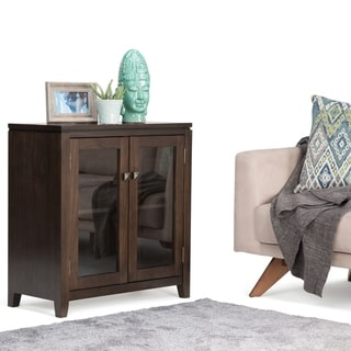 """WYNDENHALL Essex Solid Wood 30 inch Wide Contemporary Low Storage Cabinet in Coffee Brown - 30""""w x 14""""d x 31"""" h"""