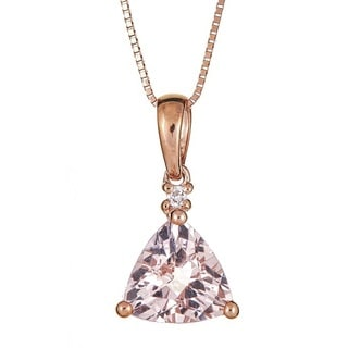 Anika and August 10k Rose Gold Morganite and Diamond Accent Pendant