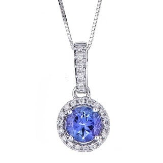 Anika and August 10k White Gold Tanzanite and Diamond Acccent Pendant