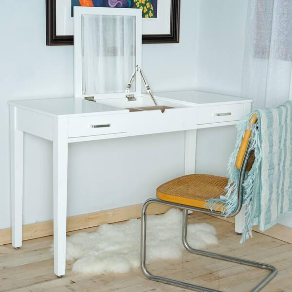 best service dd440 e59b6 Shop Posh Pollen Ainsley White Vanity Desk by Hives & Honey ...