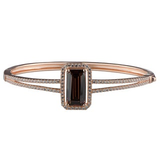 Emereald Cut Chocolate CZ Rose Gold Bangle Bracelet