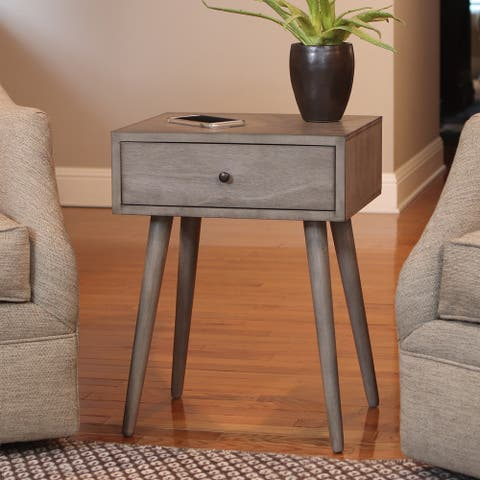 Mid-century 1-drawer Wood Side Table