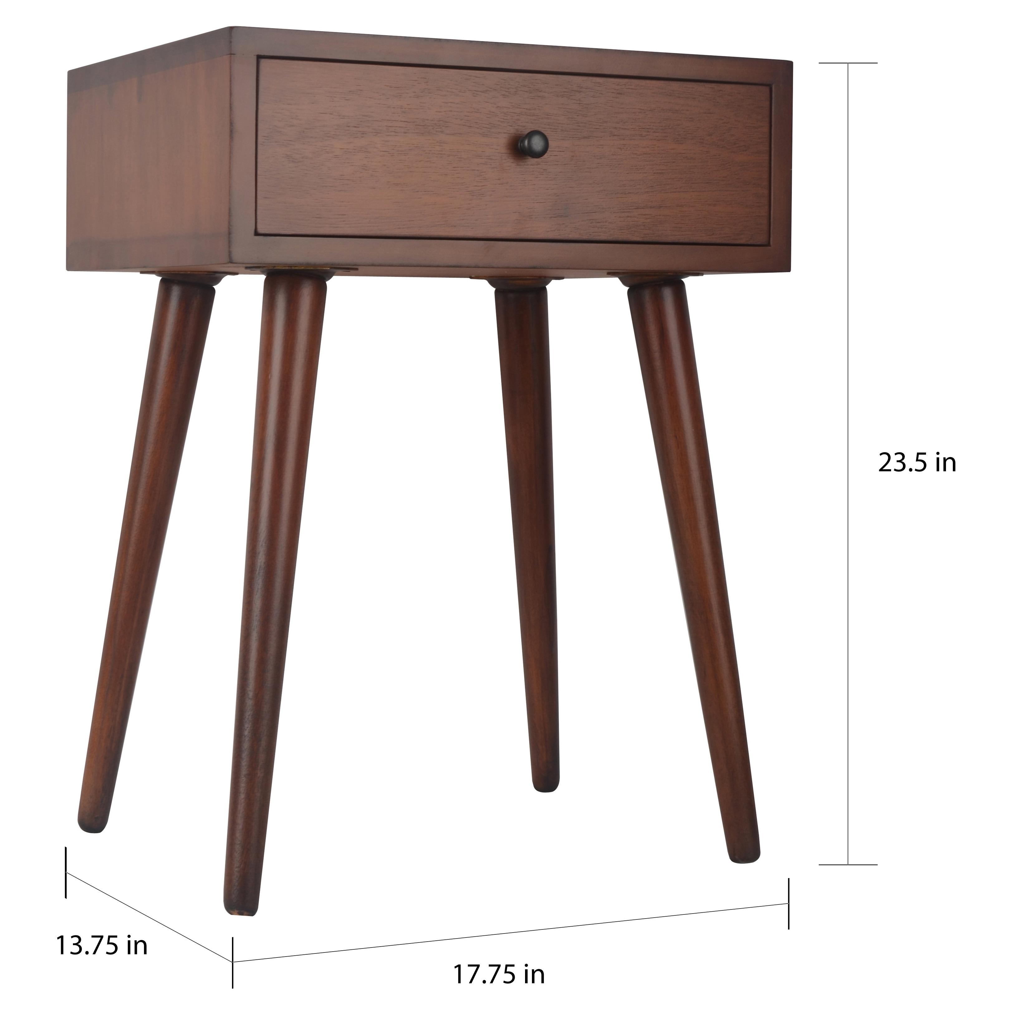 Mid Century Single Drawer Wood Side Table On Sale Overstock 12223530