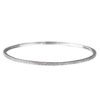 Silver CZ Bangle Bracelet