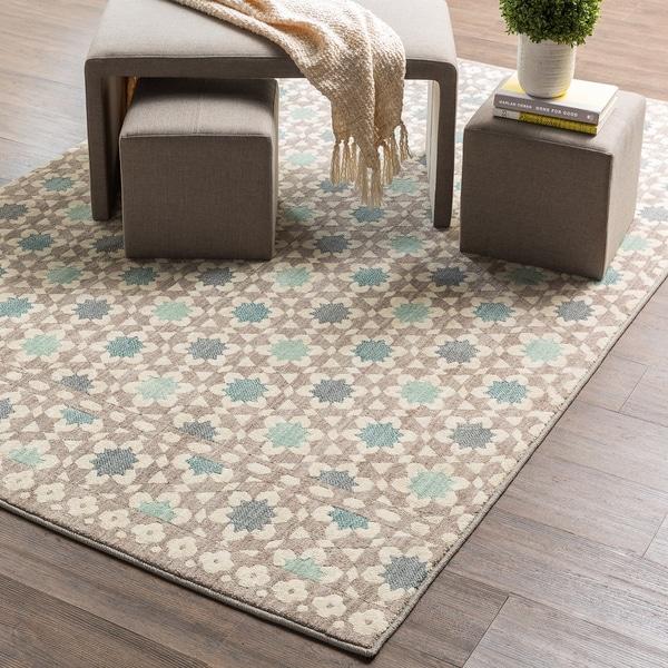 Shop Mohawk Home Cascade Heights Lattice Tiles Grey Area