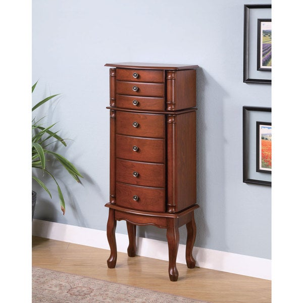 Shop Coaster Company Solid Wood Warm Brown Jewelry Armoire ...