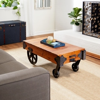 Wood Metal Coffee Table with Wheels