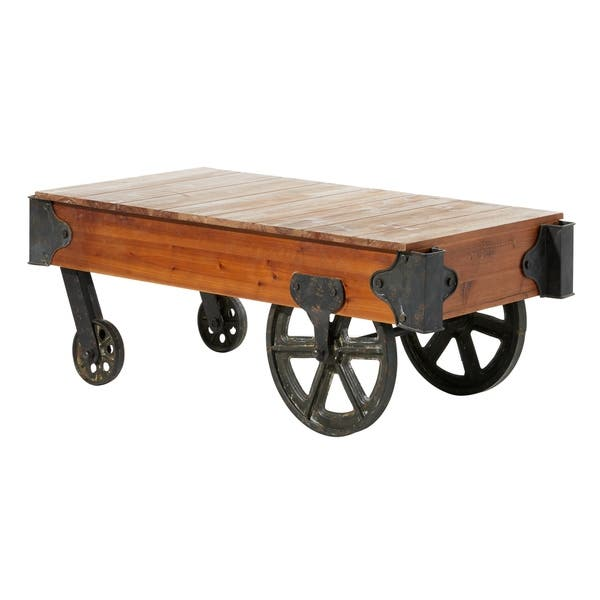 Rustic 22 X 45 Inch Wood And Iron Coffee Table Cart By