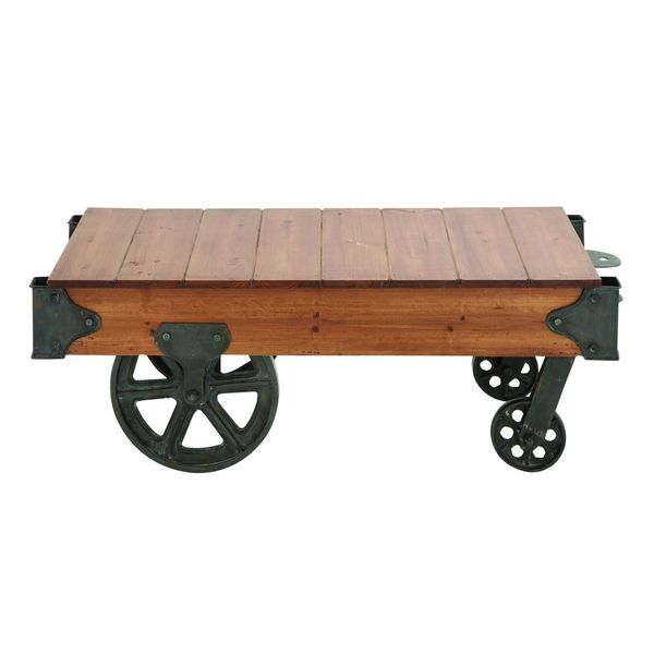 wood metal coffee table with wheels - free shipping today