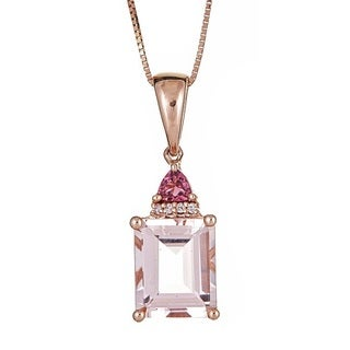 Anika and August 14k Rose Gold Multi-gemstone and Diamond Accent Pendant