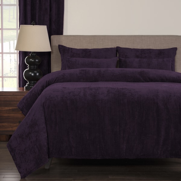 Draper Plum Soft Chenille-Like Fabric 6-Piece Duvet Cover Set with Comforter Insert