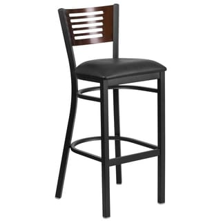 HERCULES Series Decorative Slat Back Metal Restaurant Barstool - Wood Back, Vinyl Seat