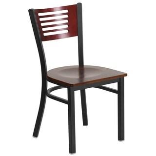 HERCULES Series Black Decorative Slat Back Metal Restaurant Chair - Wood Back & Seat