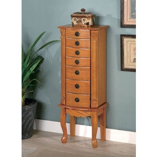 Warm Brown Oak Jewelry Armoire
