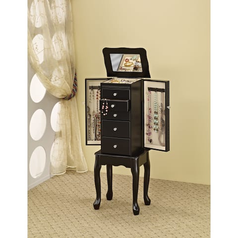 Copper Grove Loches Jewelry Armoire with Flip-Top Mirror in Black