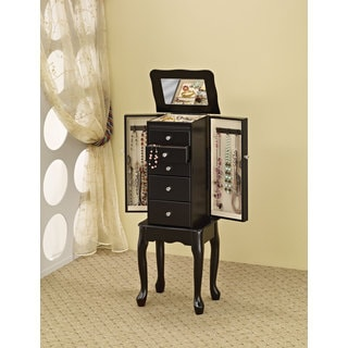 Coaster Company Jewelry Armoire With Flip Top Mirror, Black