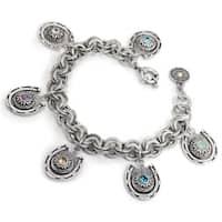 Sweet Romance Brass Crystal Equestrian Horseshoe Charm Bracelet