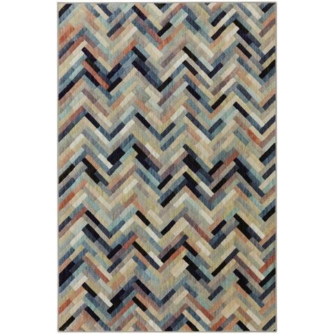 Mohawk Home Caftan Chevron Stripe Contemporary Woven Blue/Orange Area Rug