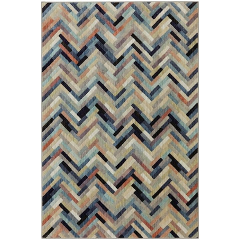 Mohawk Home Caftan Geometric Patchwork Chevron Stripe Woven Area Rug
