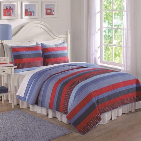 Laura Hart Kids Red and Blue Sebas Stripe 3-piece Quilt Set