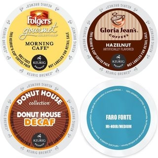 K-Cup Gloria Jean's Hazelnut, Faro Forte Medium Roast, Folgers Morning Cafe, and Donut House Decaf 96 Count Coffee Variety Pack