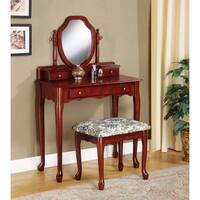 Lorena 2 Piece Solid Wood Vanity Table And Stool Set
