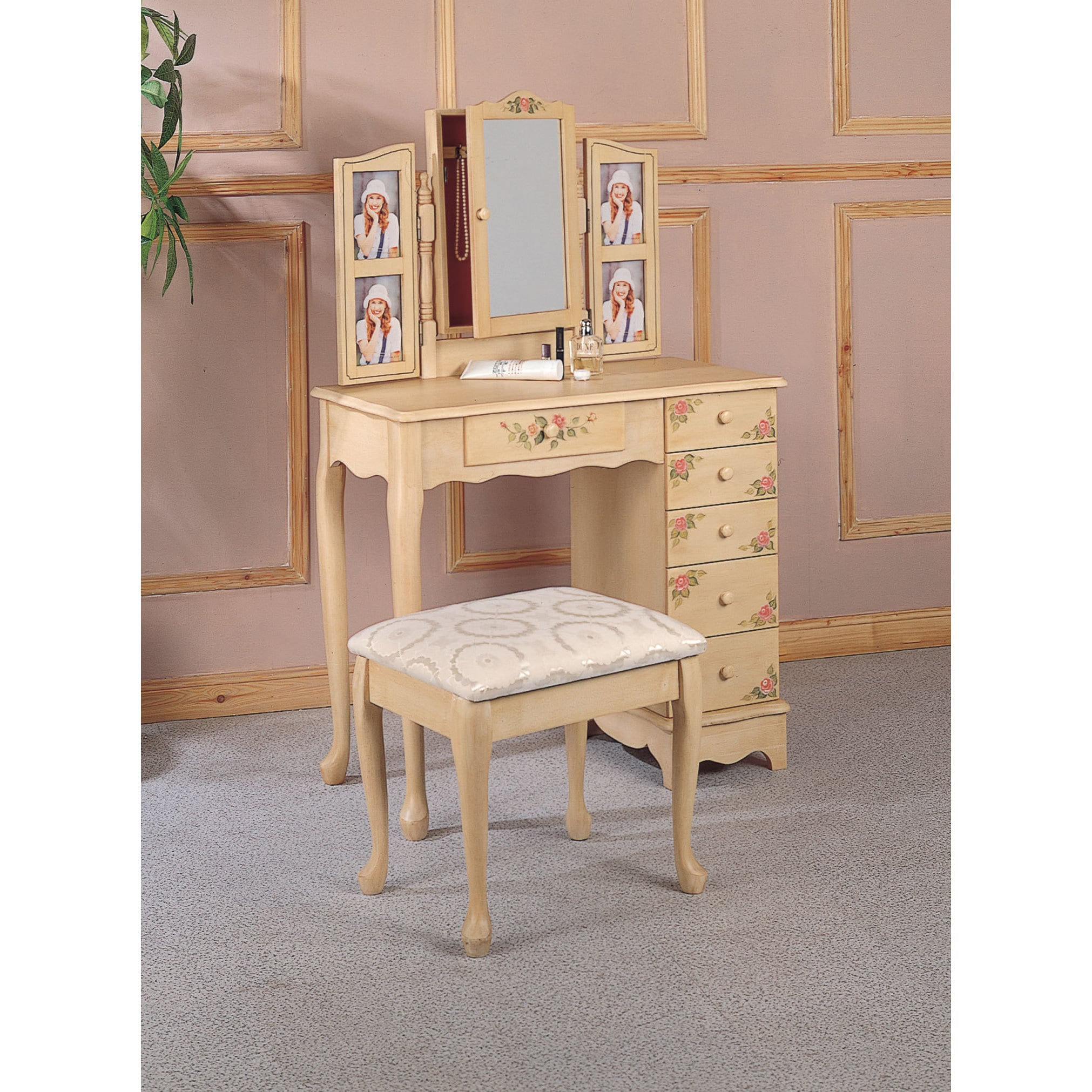 Coaster Furniture Wood and Glass Hand-painted Vanity and ...