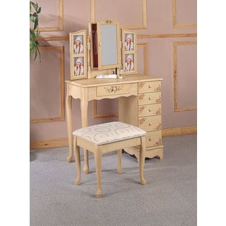 Wood and Glass Hand-painted Vanity and Stool Set