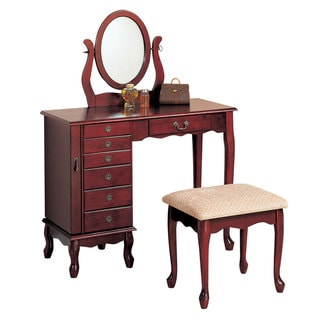 Cherry Wood Vanity and Stool Set
