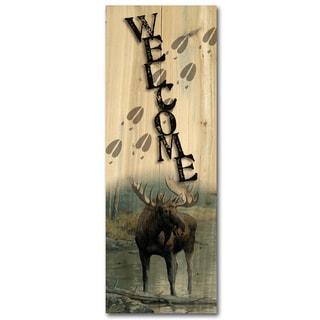 WGI Gallery Quiet Water Moose Indoor/Outdoor Welcome Plaque/Sign Printed on Wood