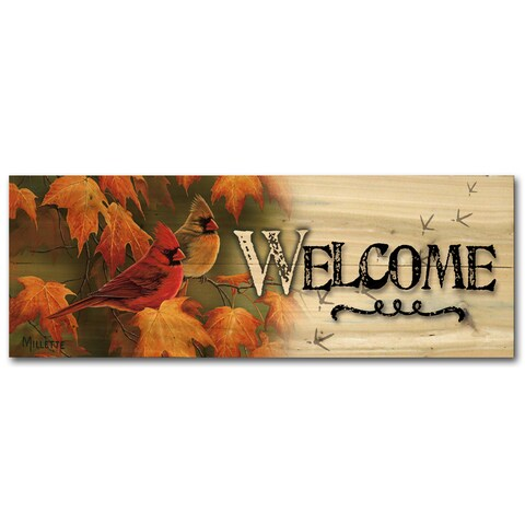 WGI Gallery 'Maple Leaves & Cardinals' Wood Indoor/Outdoor Welcome Sign