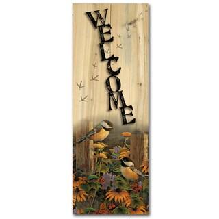 WGI Gallery Linda's Chickadees Indoor/Outdoor Multicolored Wood Welcome Plaque/Sign