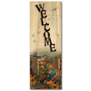 WGI Gallery Linda's Bluebirds Wood Indoor/Outdoor Welcome Plaque/Sign