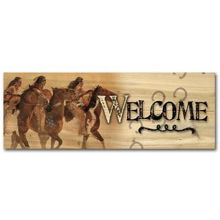 WGI Gallery Heartbeat & Hoofbeats Indoor/Outdoor Welcome Plaque/Sign Printed on Wood