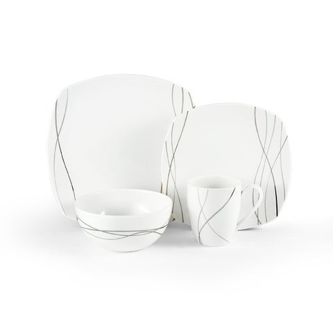 Mikasa 'Something New' White/Silver Porcelain 4-piece Square Place Setting