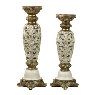 D'Lusso Designs Kayla Design Polyresin 18-inches and 16-inches High 2-Piece Hurricane Candlestick Set