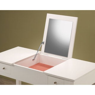 White Wood Fold-Out Mirror Vanity and Stool Set