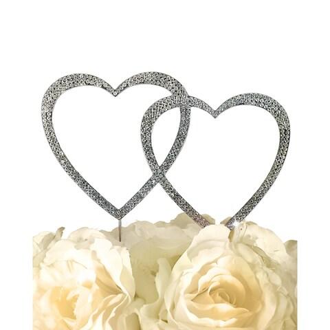 Unik Occasions Sparkling Collection Silvertone Rhinestones Double Heart Cake Topper