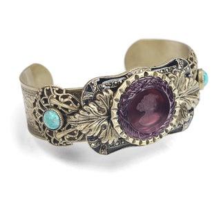 Sweet Romance Vintage Victorian Acanthus Intaglio Cuff Bracelet