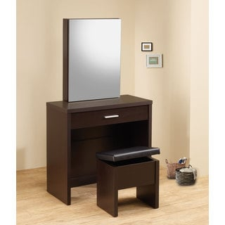 Dark Brown Wood Contemporary Vanity and Stool Set