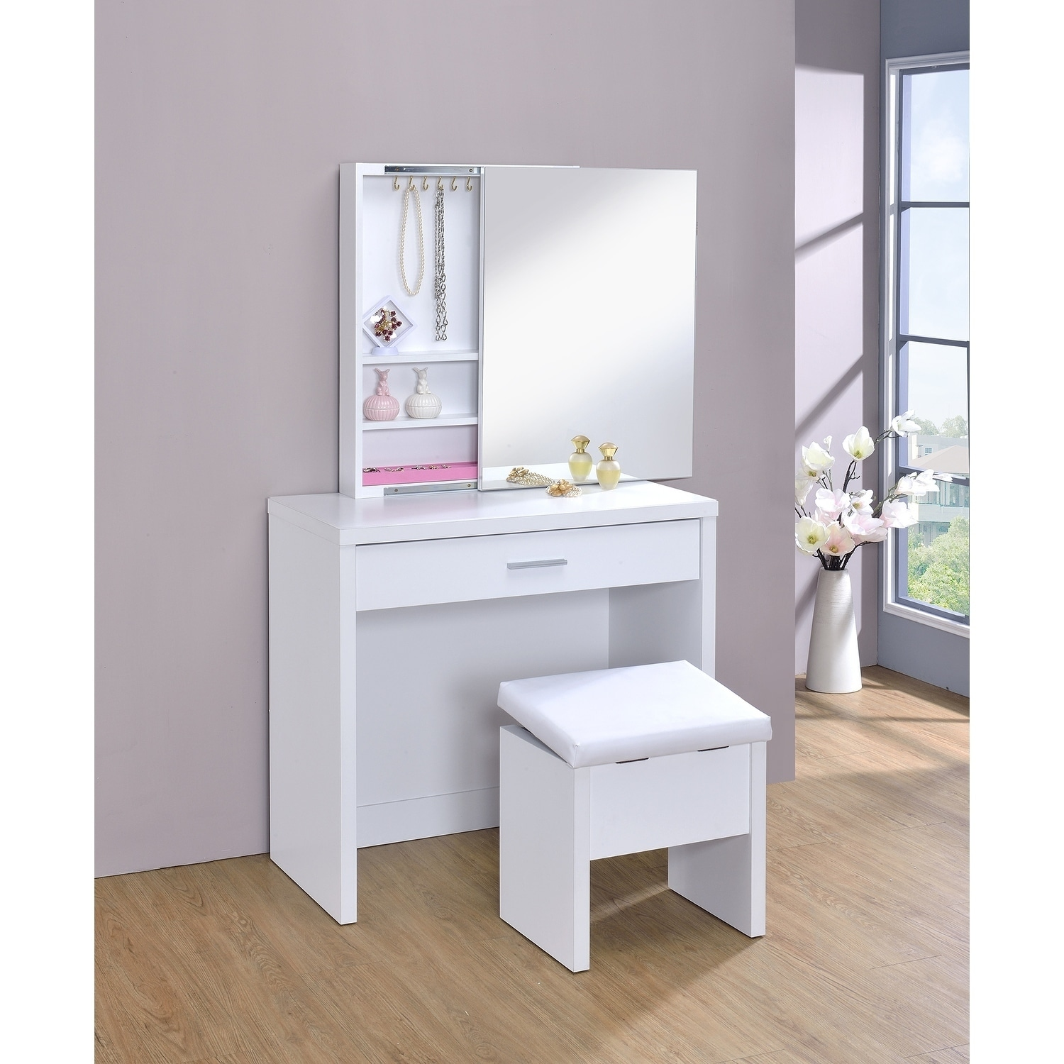 superior quality b32a3 a4be7 Coaster Company Glossy White Contemporary Vanity and Stool Set - 2-Piece