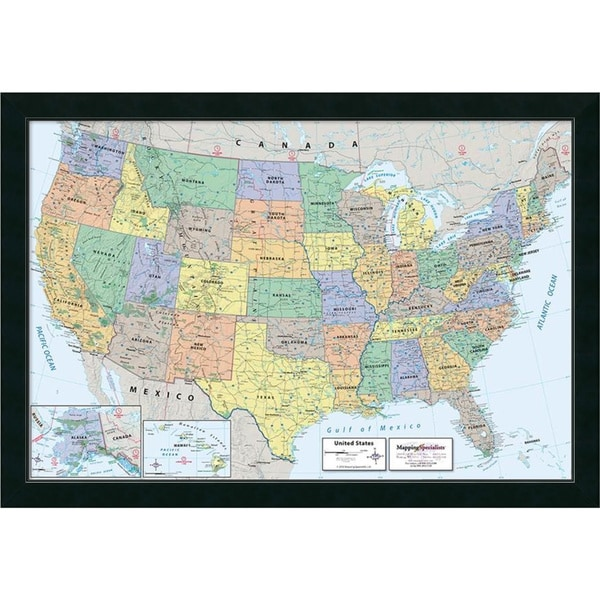 shop framed art print 39 2016 united states map classic political 39 by mapping specialists 39 x 27. Black Bedroom Furniture Sets. Home Design Ideas
